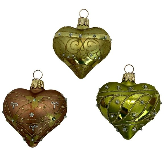 Dept 56 Heart Glass Christmas Ornaments Lot of 3
